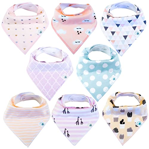 Baby Bandana Drool Bibs 4 Pack for Girls by Lil Dandelion