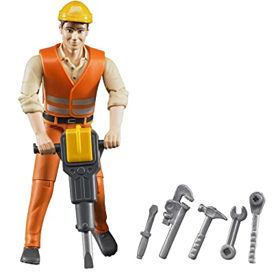 Bruder Construction Worker with Accessories: Toys & Games