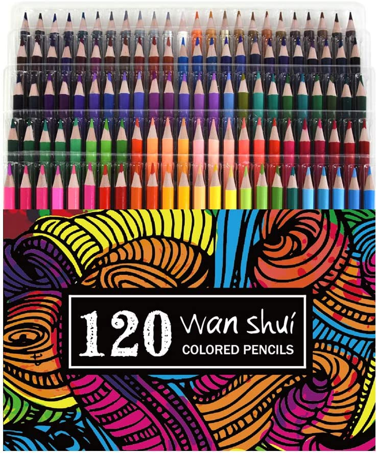 120 Colored Pencils - Premium Soft Core 120 Unique Colors No Duplicates Color Pencil Set for Adult Coloring Books, Artist Drawing, Sketching, Crafting
