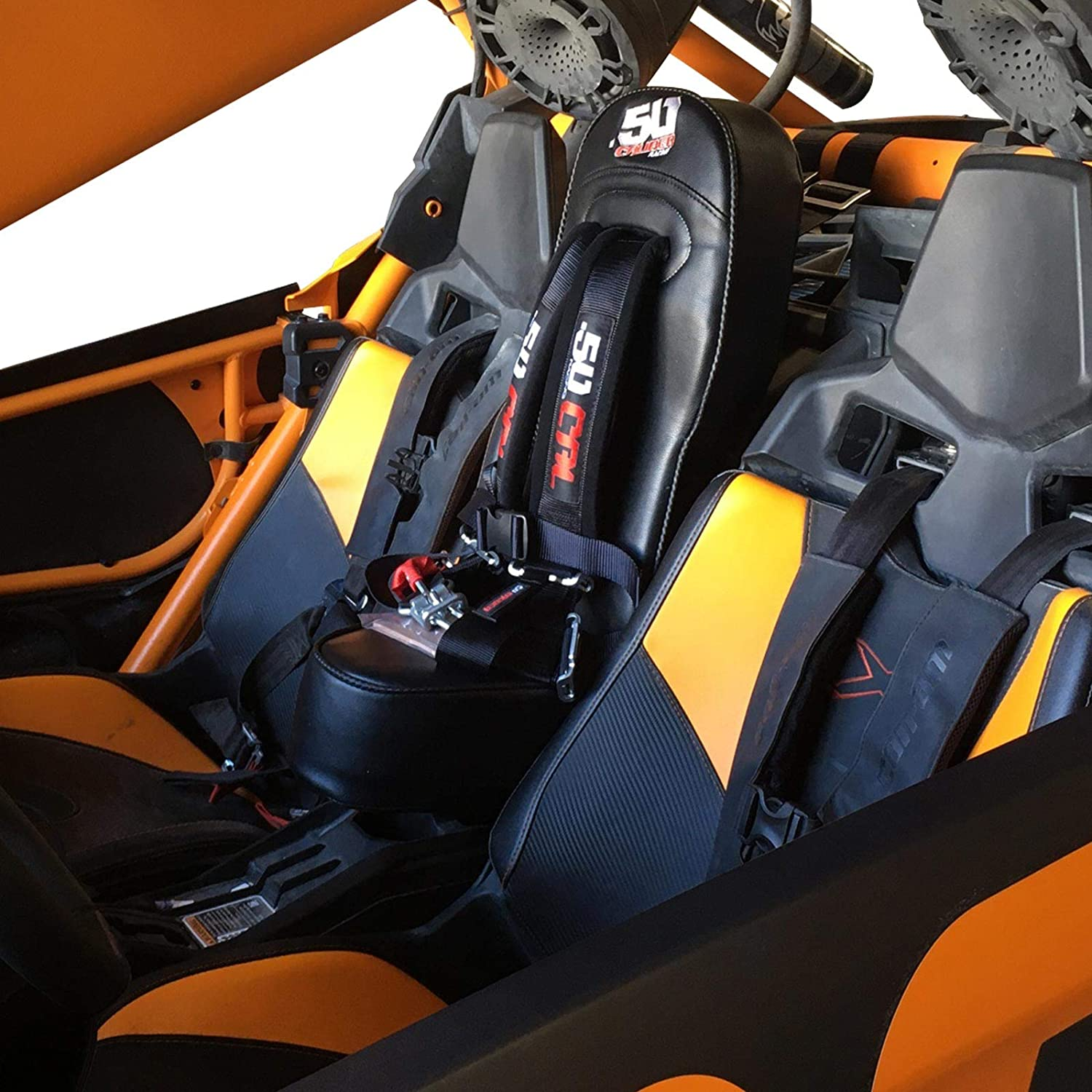 50 Caliber Racing Off Road Bump Seat with Black 2 4 Point Harness for Child Rider Fits Can-Am X3 2 /& 4 Seat Max Models 5048A13 CB 6008 Front or Rear Mount 2017-2020