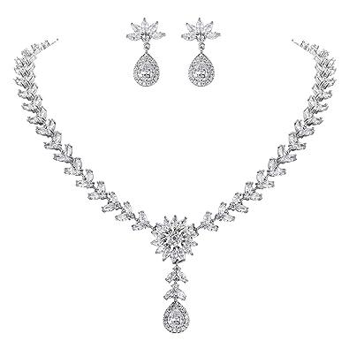 TENYE Full Cubic Zirconia Bridal Art Deco Flower Teardrop Necklace Earrings Set Clear Silver-Tone 2l1UZThqpZ