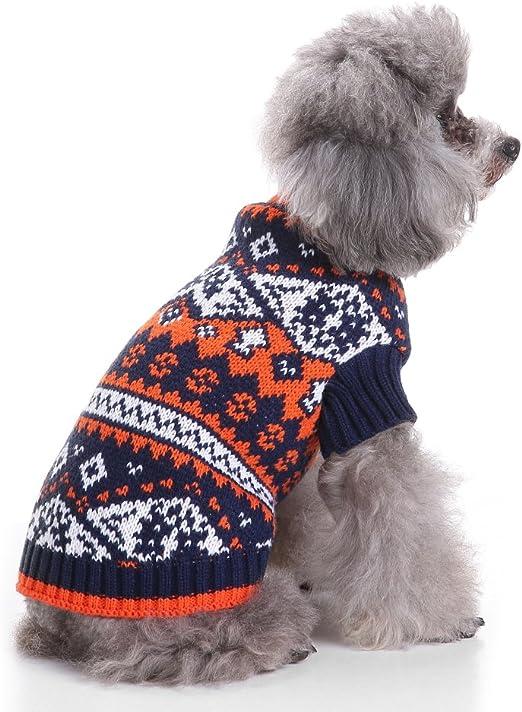 Ranphy Estampado de Punto Jersey de Cuello Alto suéter de Gato suéter de Cable Jersey Cachorro Mascota Ropa de Abrigo Ropa de Fiesta Azul M: Amazon.es: Productos para mascotas