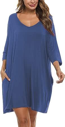 Doaraha Camisones de Algodón Modal para Mujer Vestido Camisón Super Suave Pijama Ropa de Dormir Talla Grande Verano Camisa de Dormir Cuello en V Manga 3/4 Loungewear