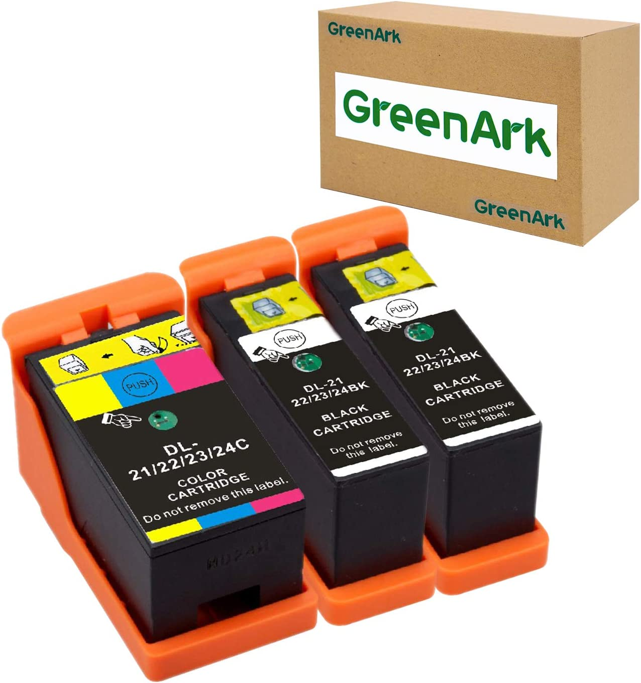 GREENARK Compatible for Dell Series 21 Ink Cartridges Use for Dell V313w V515w P513w V715w P713w Printers 3 Pack, (2 Black and 1 Color) for Dell Series 21, Series 22, Series 23, Series 24