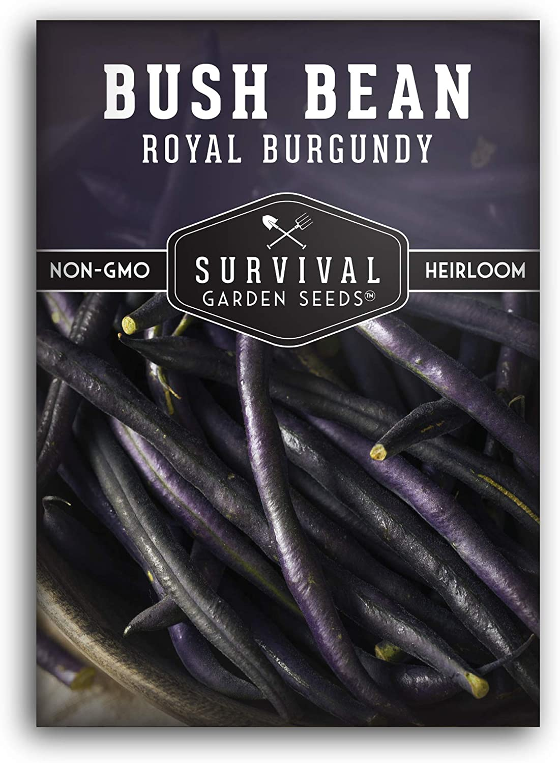 Survival Garden Seeds - Royal Burgundy Bean Seed for Planting - Packet with Instructions to Plant and Grow in Your Home Vegetable Garden - Non-GMO Heirloom Variety