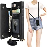 Bocasal Crossbody Wallet Case for iPhone 7 Plus/8 Plus Credit Card Holder PU Leather Kickstand Shockproof Detachable Cross Bo