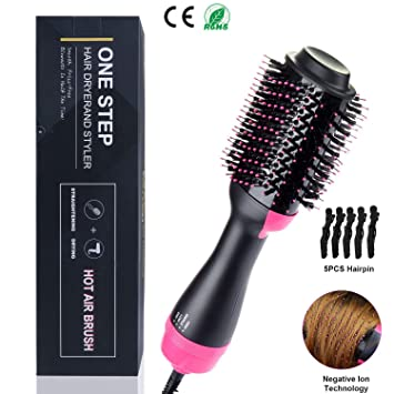 Cepillo alisador de cabello secador y voluminizador en un paso, cepillos de aire caliente para el peinado rizado 3 en 1 para peinar