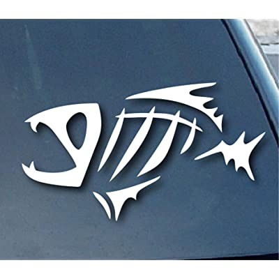 "spdecals G Loomis Fish Skeleton Car Window Vinyl Decal Sticker 5"" Wide (Color: White): Automotive"