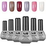 MelodySusie Lot de 6 Vernis Couleur Semi-permanent Gel UV et LED Six Séchage Rapide à Lampe UV ou LED Démaquillage Facile - Infinite Nude