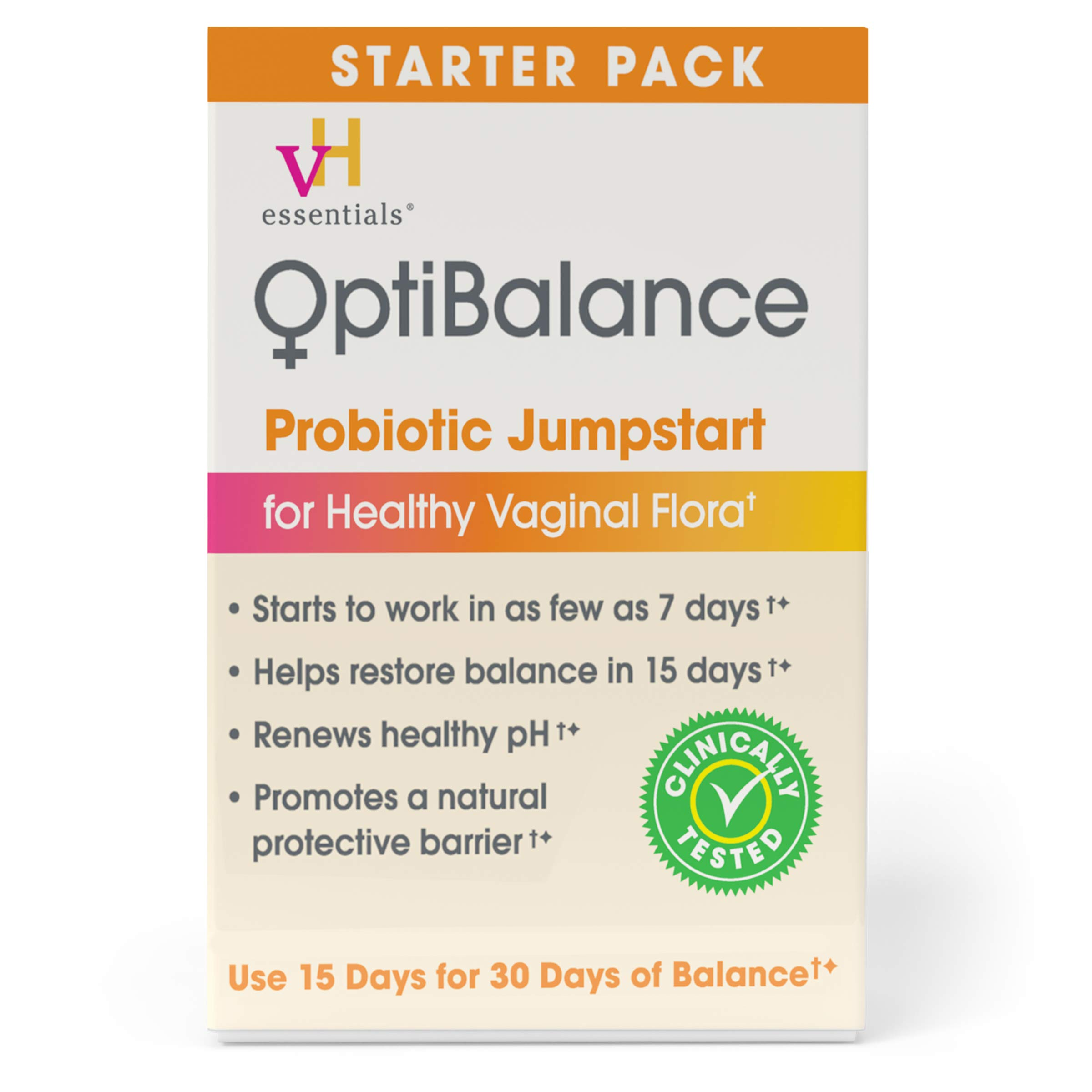 vH essentials OptiBalance Women's Probiotic Jumpstart Starter Pack for pH Balance and Vaginal Health - 20 Count