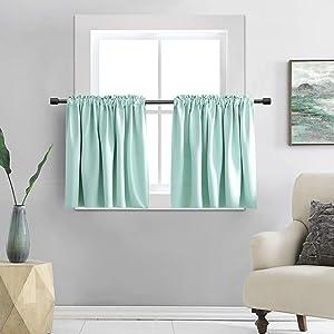 DONREN 36 Inch Length Short Curtain Tiers for Small Window - Room Darkening Thermal Insulated Window Treatment Rod Pocket Curtains(42 W x 36 L,2 Panels,Aqua)