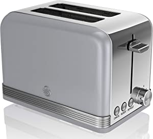 Swan ST19010GRN Retro 2 Slice Toaster, Gray