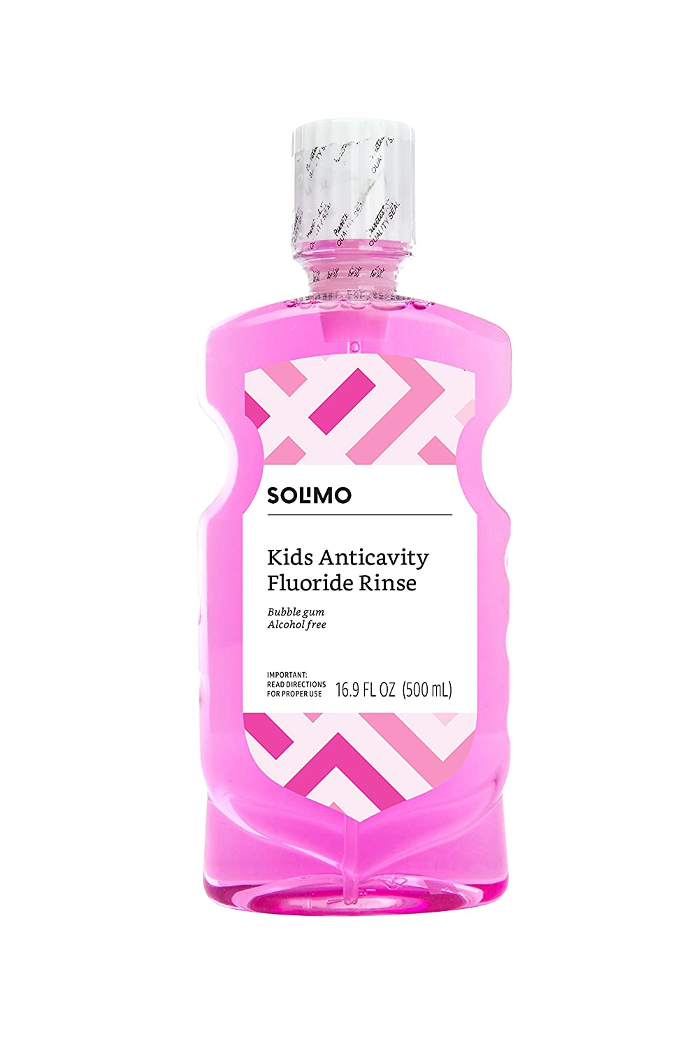 Amazon Brand - Solimo Kids Anticavity Fluoride Rinse, Alcohol Free, Bubble Gum, 16.9 fl oz