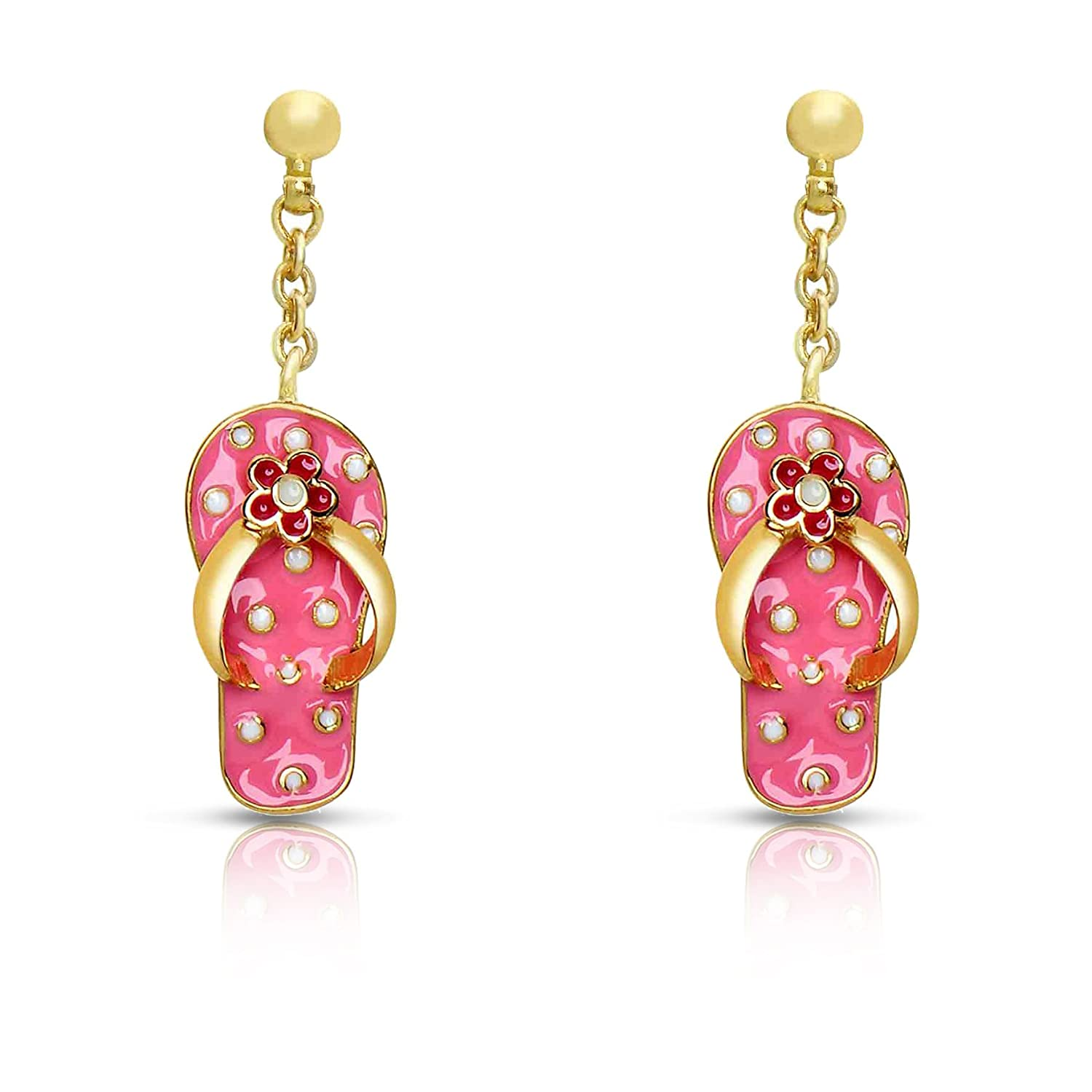 Gold Plated with Polka Dot Pink Enamel By Lily Nily Jewelry for Girls Flip-Flops Dangle Earrings