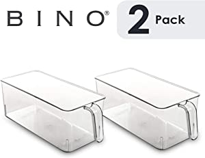 BINO Refrigerator, Freezer, Kitchen Pantry Cabinet Organizer Plastic Bin with Handle, Clear Plastic Storage Bins Refrigerator Organizer Bins Fridge Organizer Pantry Organizer Pantry (Medium - 2 PACK)