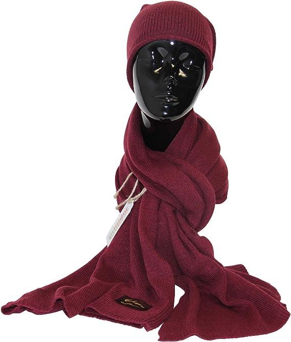 Schal mit Mütze Set mit Wolle und Kaschmir Strickschal Beanie Strickmütze rosa