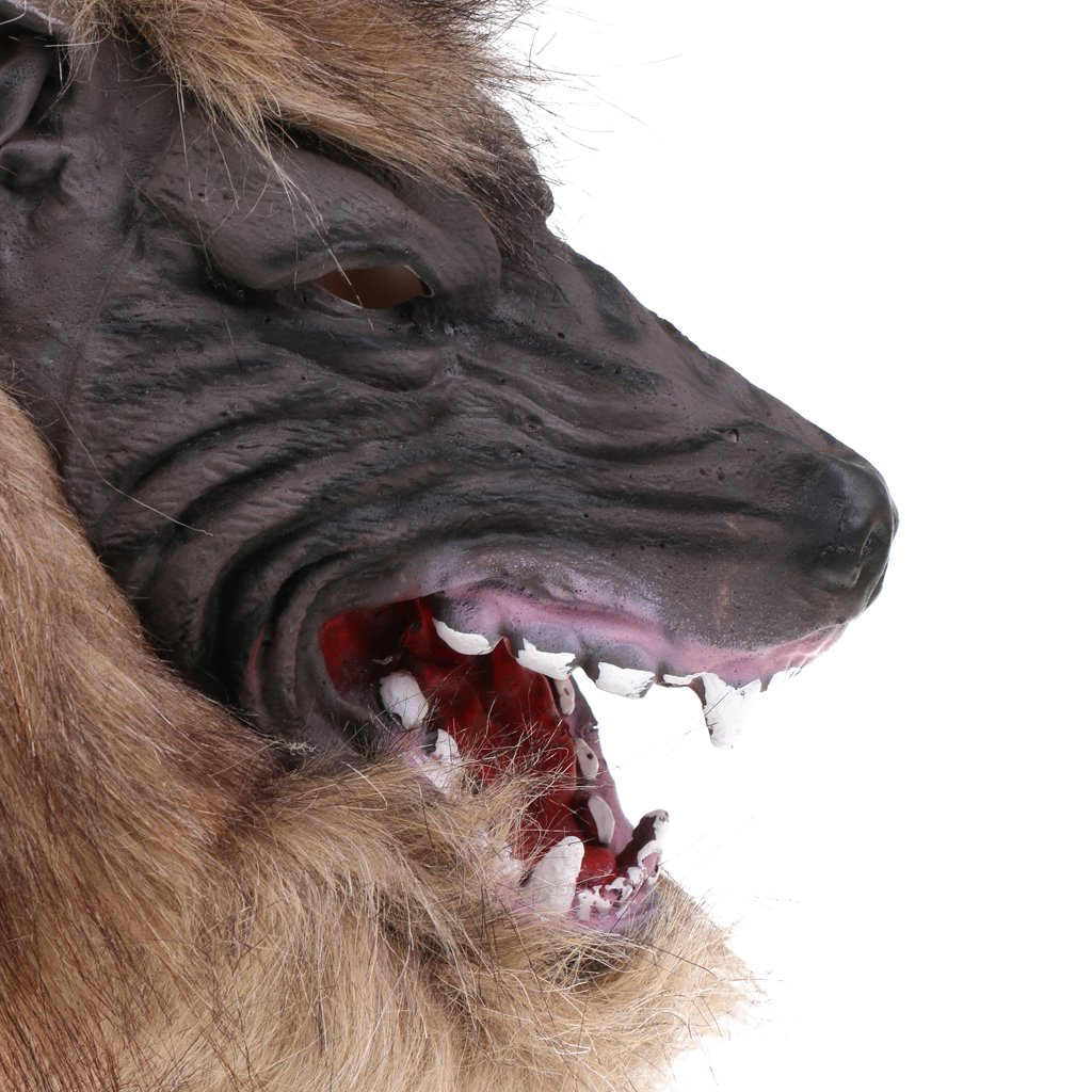 Jili Online Halloween Creepy Latex Full Head Overhead Animal Head Mask Howling Brown Wolf Masquerade Fancy Dress Costume Mask by Jili Online (Image #3)