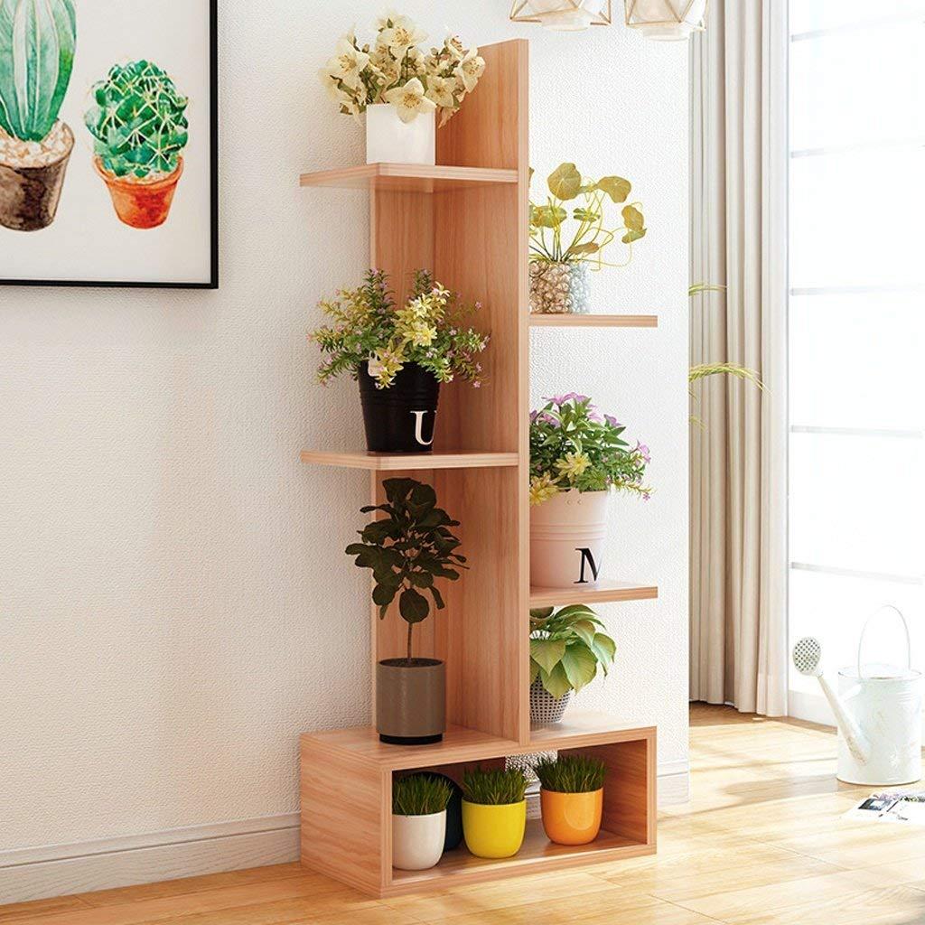Flower Garden Vaso di fiori Piante Cremagliera Stand di fiori in legno massello Multi-piano Indoor Bonsai Floor Floor verde Living Room Function Display Stand (Dimensioni  41.2  21.2  108.6 cm)
