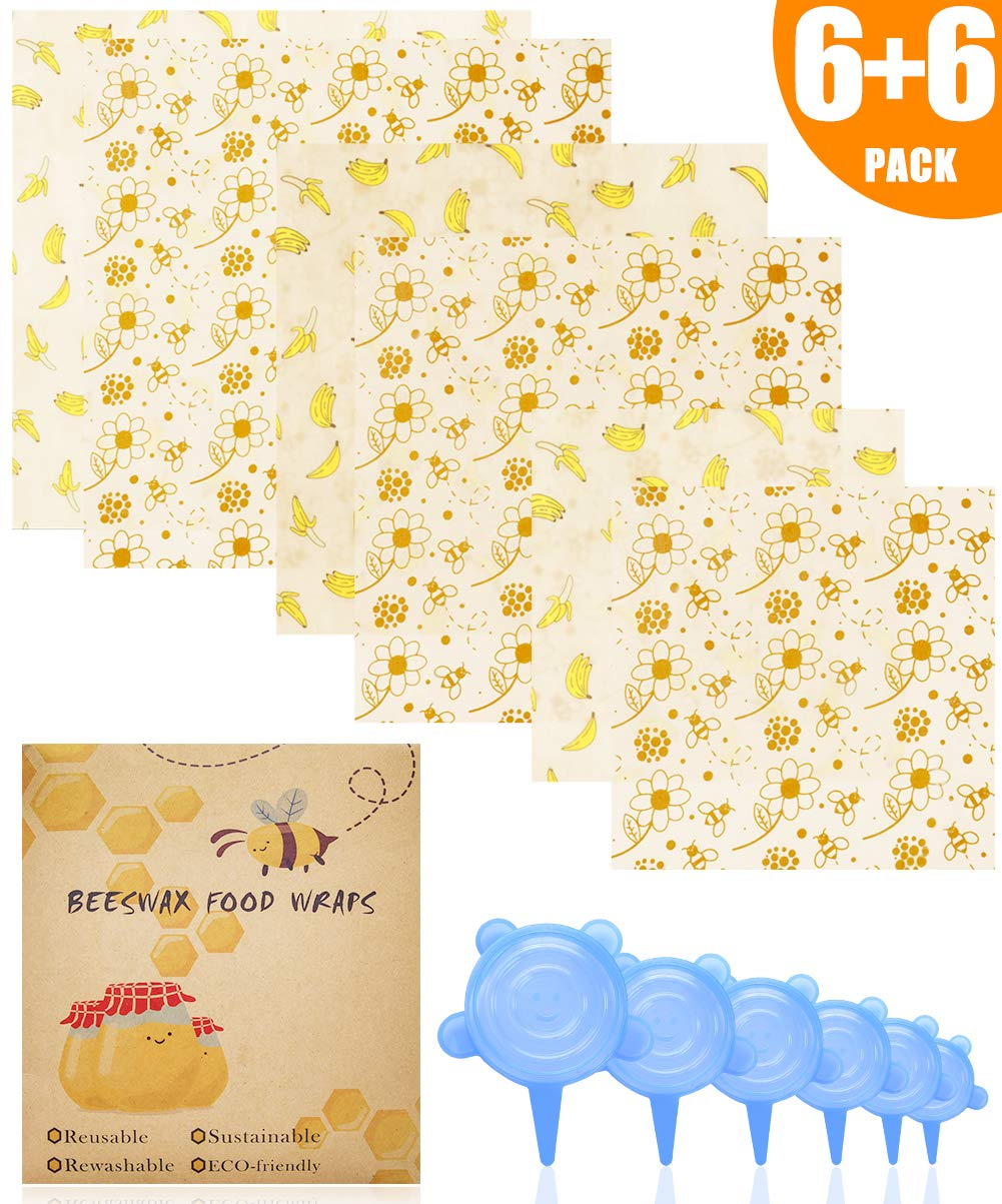 ARCBLD Beeswax Wraps and Silicone Stretch Lids, Eco-Friendly Sustainable Reusable Durable BPA-Free, cover for Fruits & Vegetables and Bowls to Keep Fresh, 6 Pack Food Wraps + 6 Pack Silicone Lids by ARCBLD
