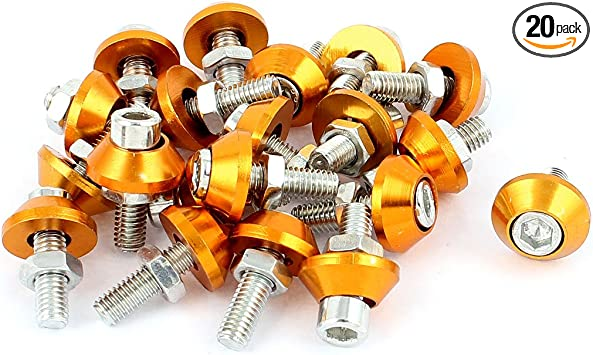 20pcs Aluminum Alloy License Plate Bolt Screw Nut Silver Tone for Car Motorcycle