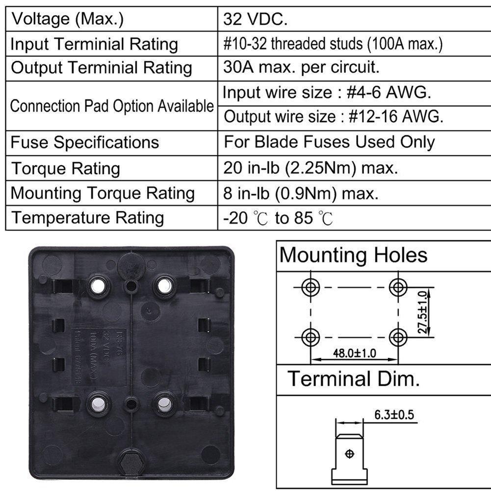 Qiilu Fuse Block Blade Box Holder Dc 12v 4 Circuit Breaker Atc Marine Ato With