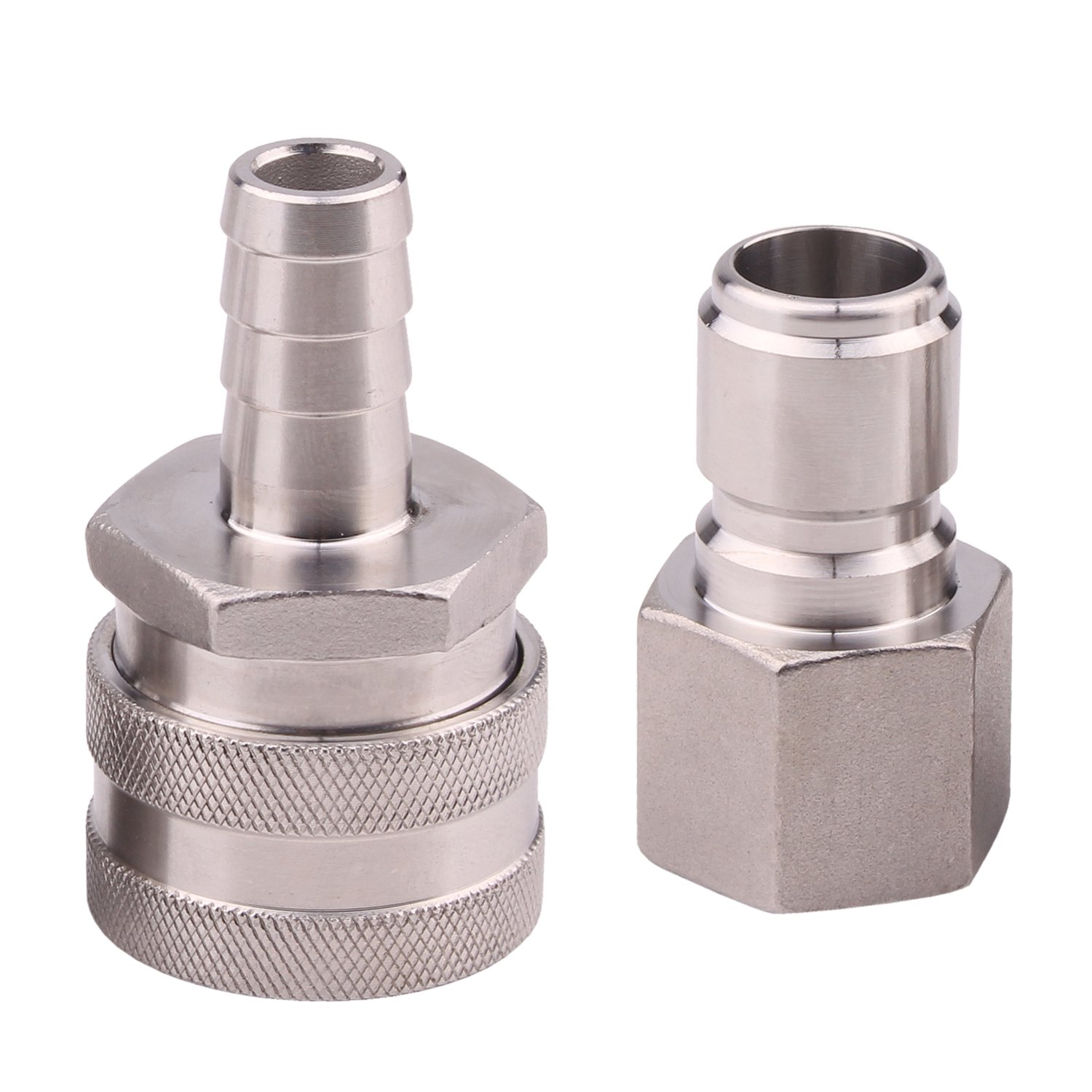 Dernord Stainless Steel Quick Disconnect Set - Beer Brewing Connector Kit (Barb Female/FPT Male)