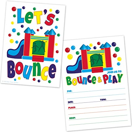 amazon com bounce house birthday party invitations kids jump and