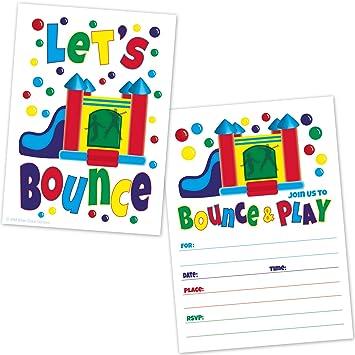 Amazoncom Bounce House Birthday Party Invitations Kids Jump