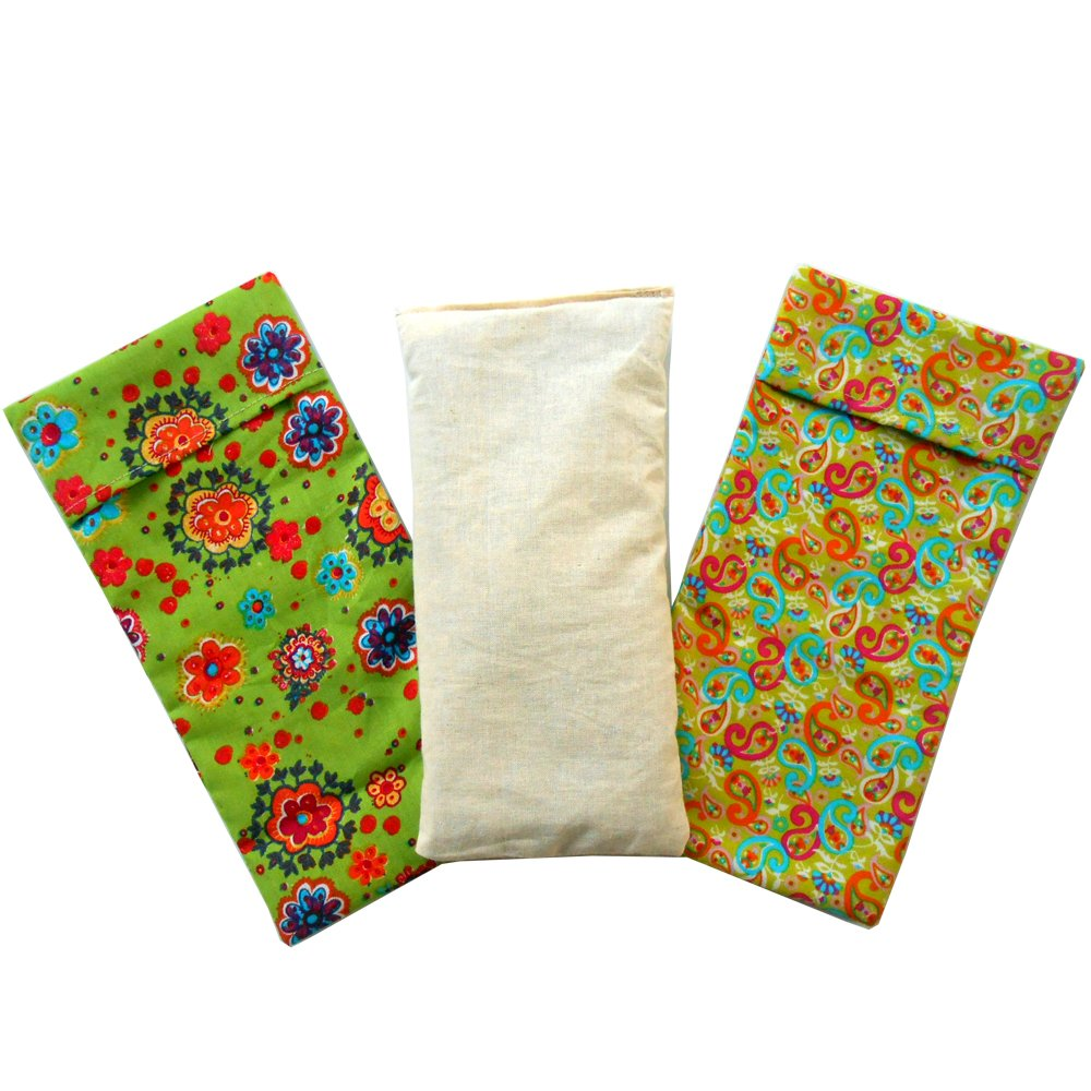 """Eye Pillow 'Duo Pack - Green"""" (1 filling and 2 washable covers) 