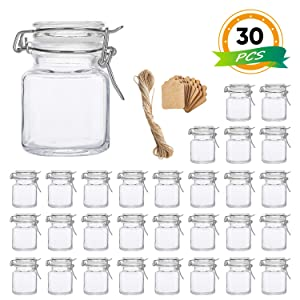 Spice Jars, Flrolove 30 Pack 3.5oz Square Glass Jars with Leak Proof Rubber Gasket & Hinged Lid,Small Glass Containers with Airtight Lids for Home, Party Favors