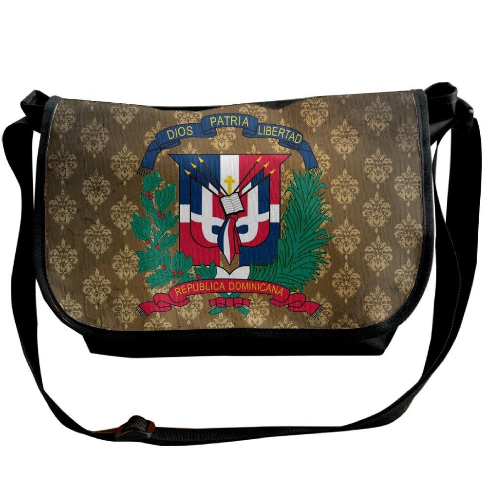 Lov6eoorheeb Unisex Coat Of Arms Of Dominican Republic Wide Diagonal Shoulder Bag Adjustable Shoulder Tote Bag Single Shoulder Backpack For Work,School,Daily