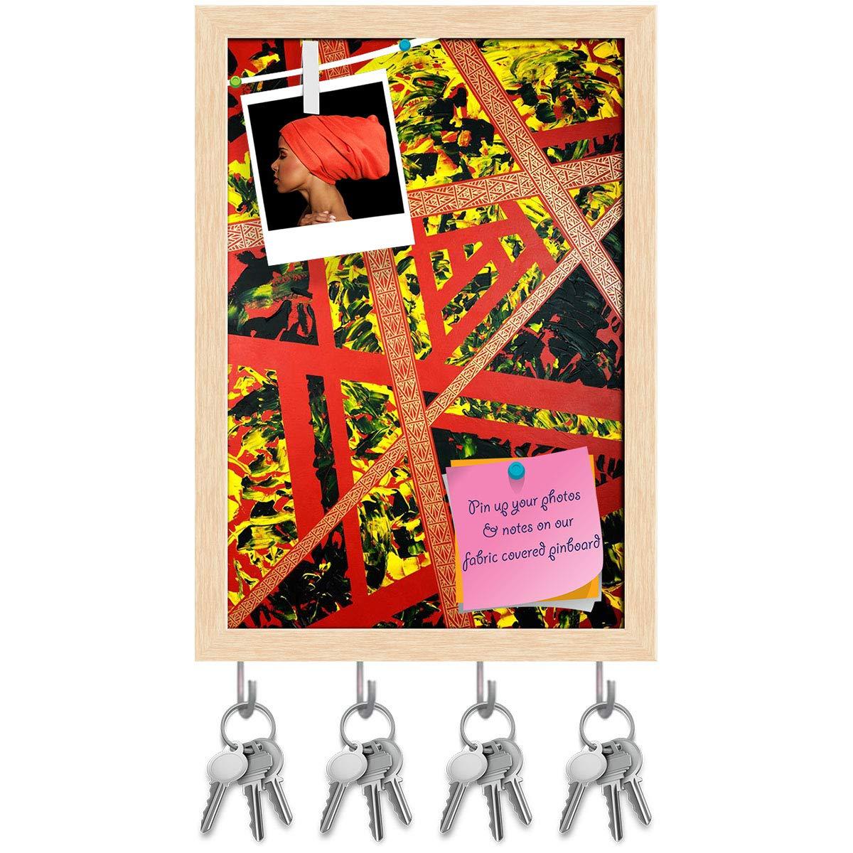 Natural Brown Frame 12inch x 17.4inch (30.5cms x 44.2cms) Artzfolio Geometrical Artwork Key Holder Hooks   Notice Pin Board   Antique golden Frame 12 X 17.4Inch