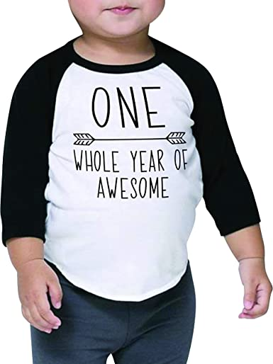 Baby Boy Girl One Two Birthday T shirt BLACK and WHITE 1 2 Years 12-24 months