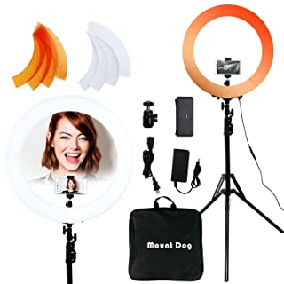 "MOUNTDOG Ring Light Kit 18""/48cm 55W 5500K Dimmable LED Ring Light Kit with Light Stand Circle Lighting for Video Filming Portrait Makeup"
