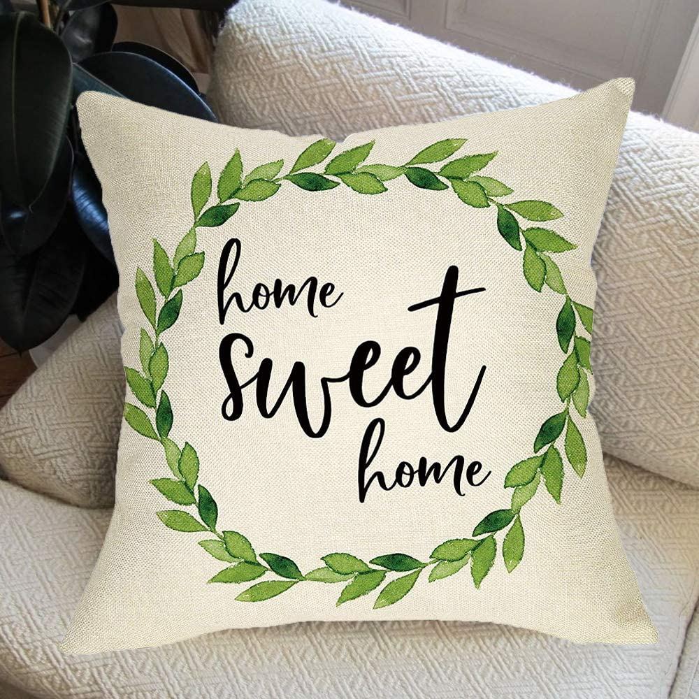 Ussap Rustic Home Sweet Home Green Olive Wreath Sign Decoration Vintage Farmhouse Decorative Throw Pillow Cover Cushion Case For Sofa Couch Home Decor Cotton Linen 18 X 18 Home Kitchen