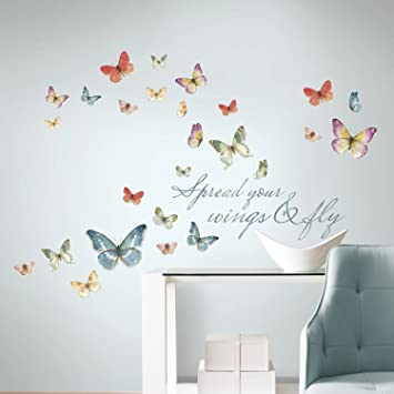 RoomMates RMKSCS Lisa Audit Butterfly Quote Peel And Stick - Wall decals butterfliespatterned butterfly wall decal vinyl butterfly wall decor