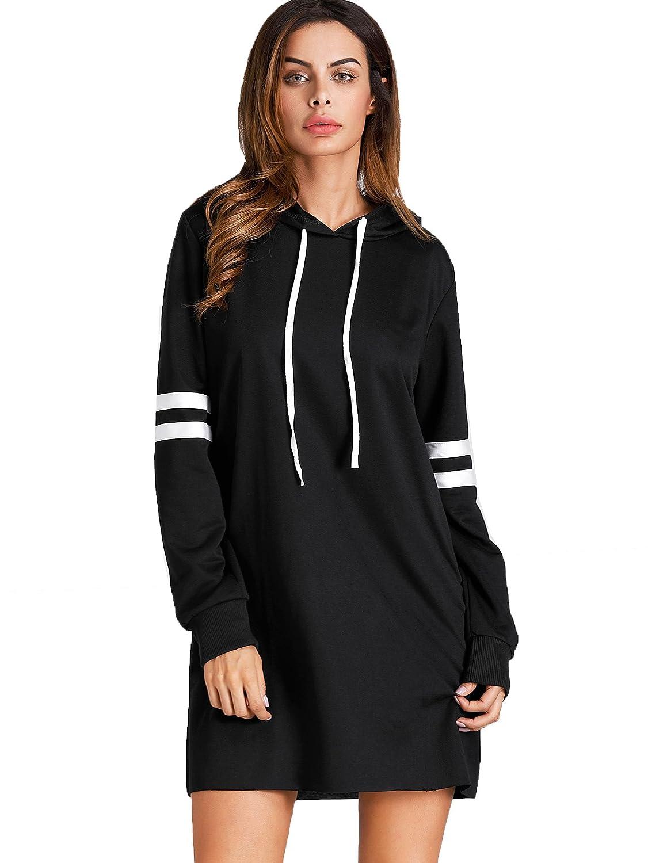 b4265466079 SweatyRocks Women s Striped Long Sleeve Casual Pullover Hoodie Sweatshirt  Dress at Amazon Women s Clothing store