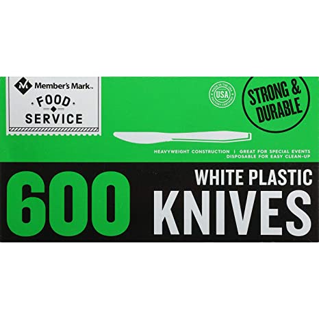 An Item of Member's Mark Plastic Knives, Heavyweight, White (600 ct.) - Pack of 1