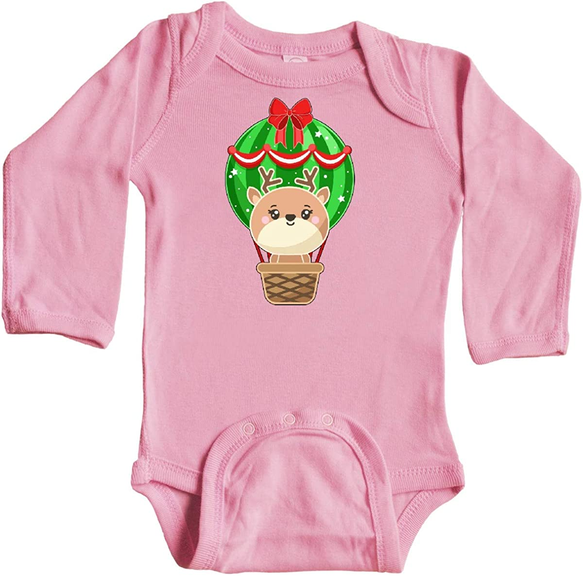inktastic Cute Christmas Reindeer in a Hot Air Balloon Long Sleeve Creeper