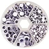 PandaHall Elite 1 Box 600 Pieces Paste On Round Wiggle Googly Eyes 4mm 5mm 6mm 7mm 8mm 9mm Crafts Toy Accessories