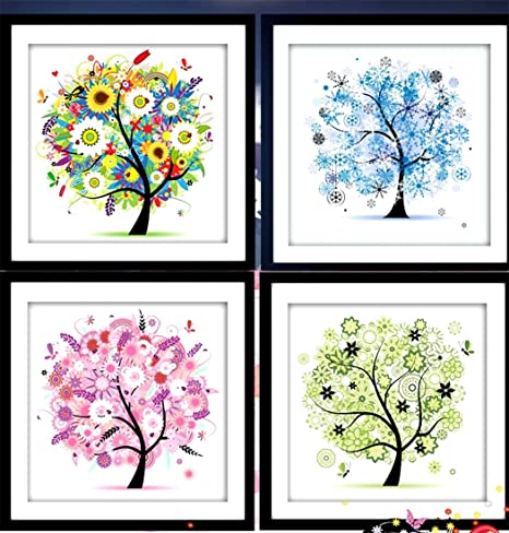 5D Counted Cross Stitch Kit Colorful Four Season Tree Embroidery DIY Home Decor