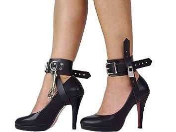 f9c181b5e18f12 Bondage High Heels Fesseln abschließbar High Heel Lederfesseln High-Heel- Fixer (Schwarz)