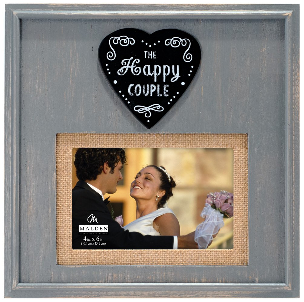 Malden International Designs Rustic Woods Distressed Gray with Burlap Mat The Happy Couple Heart Attachment Picture Frame, 4x6/5x7, Gray by Malden International Designs (Image #1)