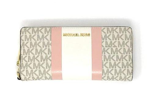 Michael Kors Jet Set Travel Continental Zip Around Leather Wallet Wristlet (Vanilla Multi)