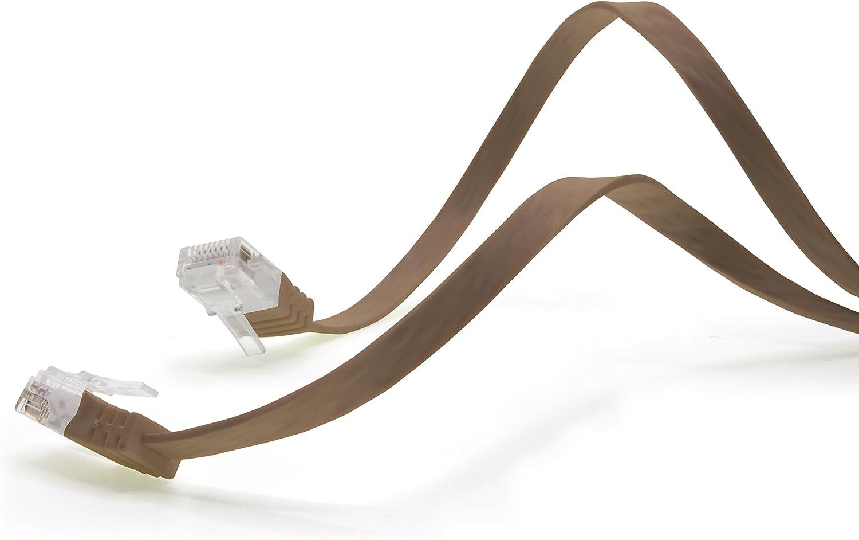 brown Cat.6 Flat Network Cable Cat6 Ultra Cat6 Patch Cable 1000 Mbps Gigabit Lan RJ45 Slim Micro compatible with Cat5 Cat56 Cat6a Cat7 Cat8 1aTTack.de 0,25m 1 piece
