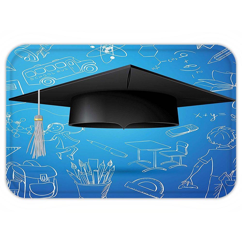 VROSELV Custom Door MatGraduation Convocation Day Cap Figure over School ElementBackground Education Image Blue Black