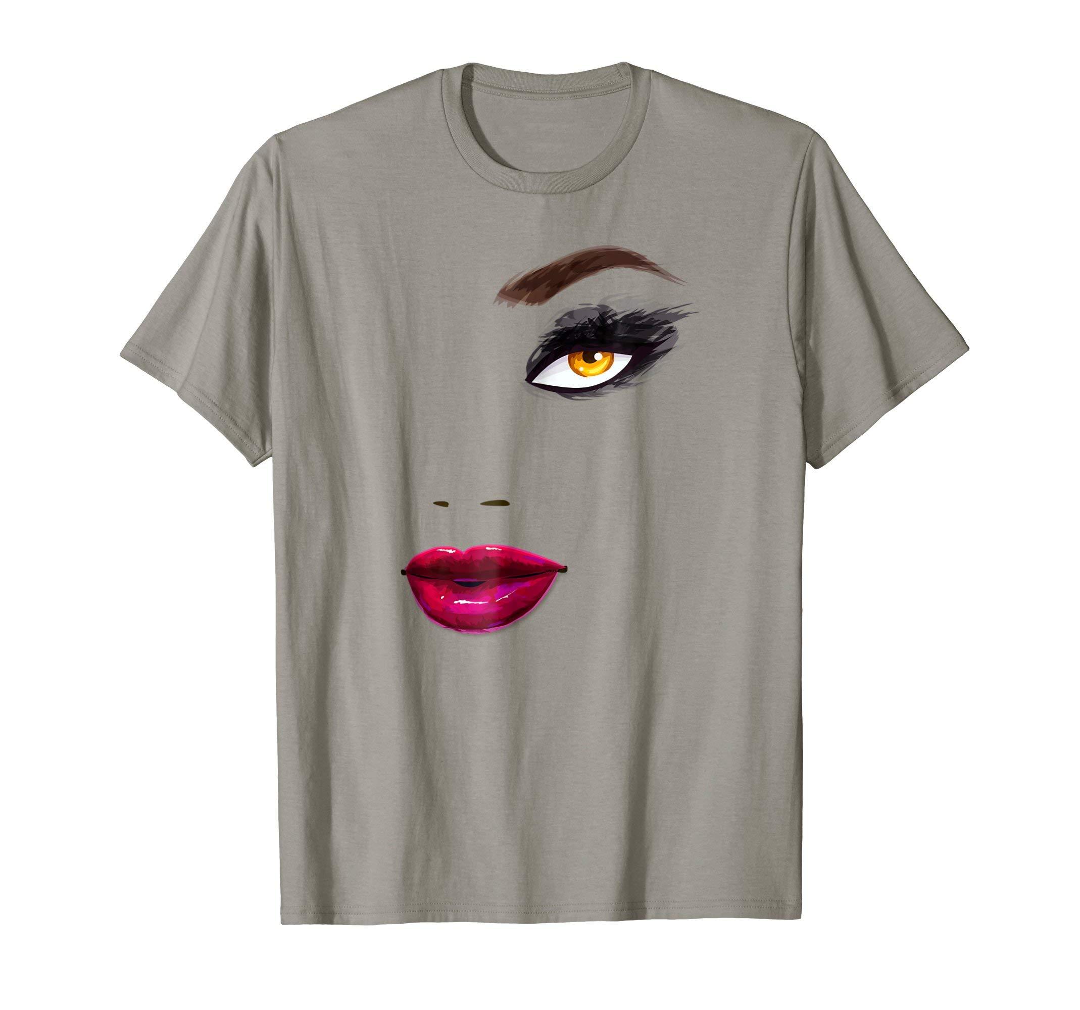 Eyelashes-Makeup-In-Vogue-t-shirt-Lips-Print-Shirt-Top