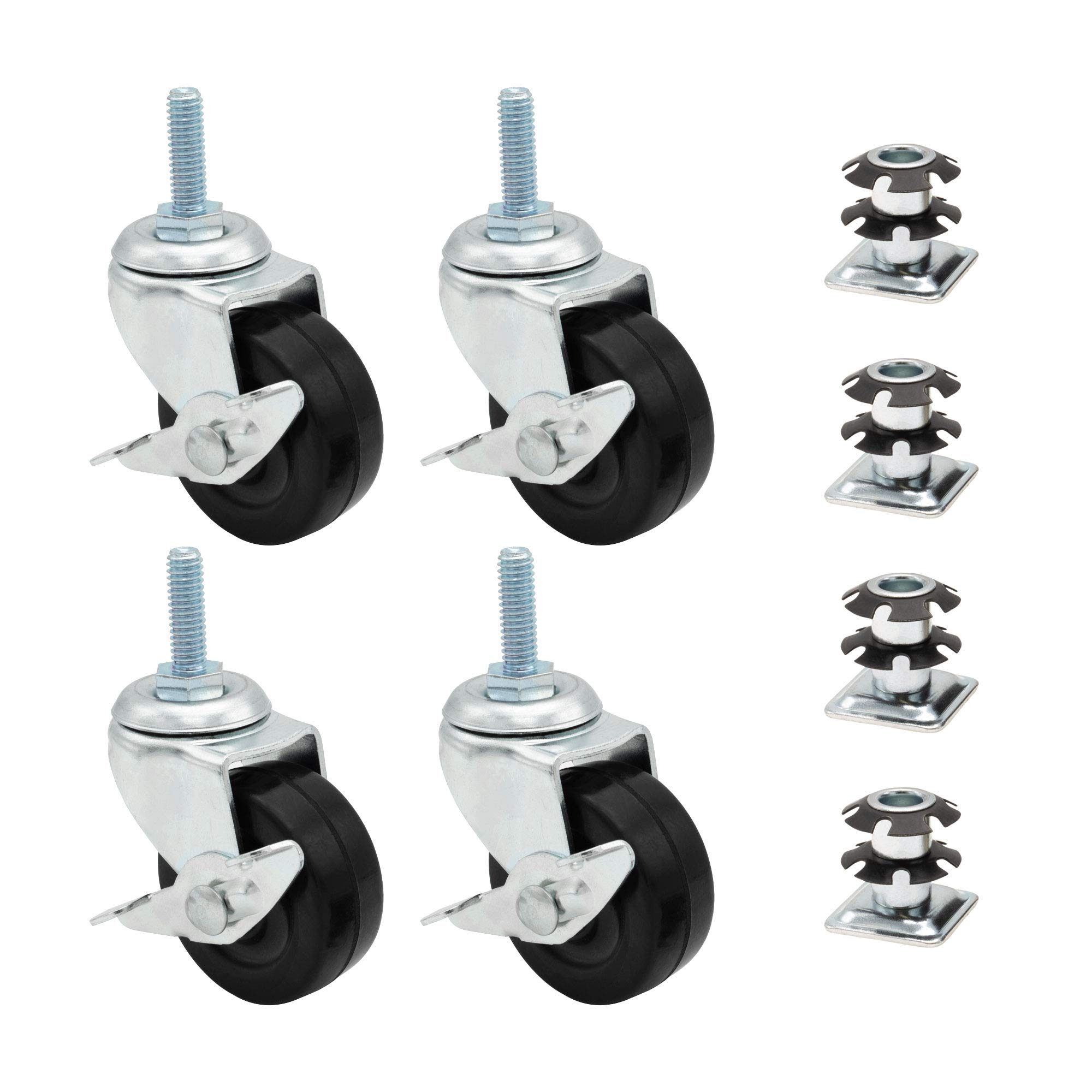 1 Inch Metal Square Double Star Caster Insert with 2 Inch Casters with Brakes 4 Pack by Outwater