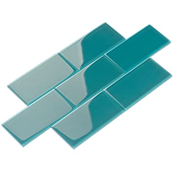 Giorbello Glass Subway Backsplash Tile 3 X 6 Dark Teal Case Of 44