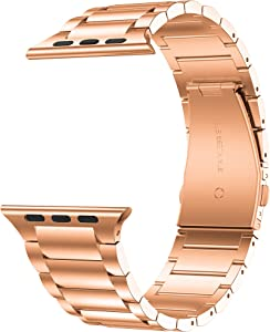 GELISHI Compatible with Apple Watch Band 38mm 40mm,Business Stainless Steel Metal Link Bracelet Bands Compatible for Apple Watch Series 5/4/3/2 - Rose Gold